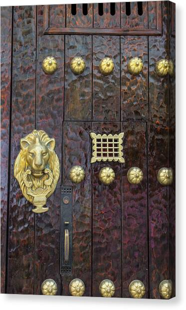 Charming Entry Door, Cartagena, Colombia Canvas Print by Jerry Ginsberg