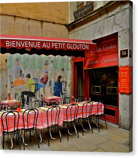Charming French Outdoor Cafe Canvas Print