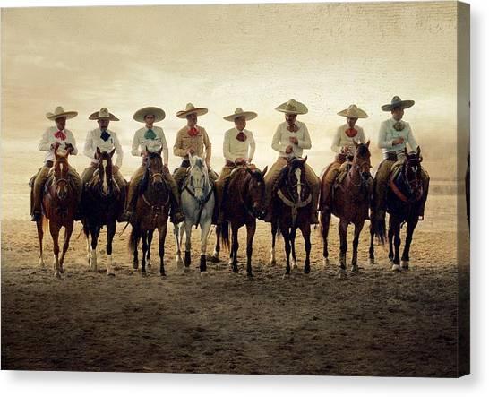 Charros Riding Canvas Print