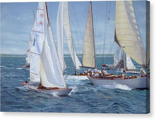 Marthas Vineyard Canvas Print - Chasing 5 by Julia O'Malley-Keyes