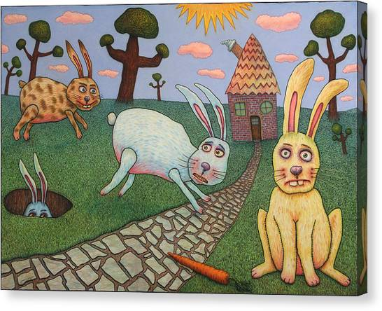 Rabbits Canvas Print - Chasing Tail by James W Johnson