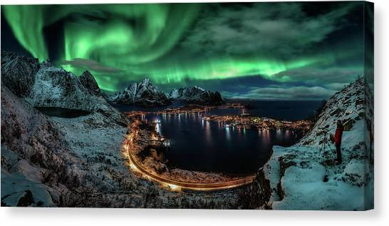 Aurora Borealis Canvas Print - Chasing The Northern Lights by Javier De La