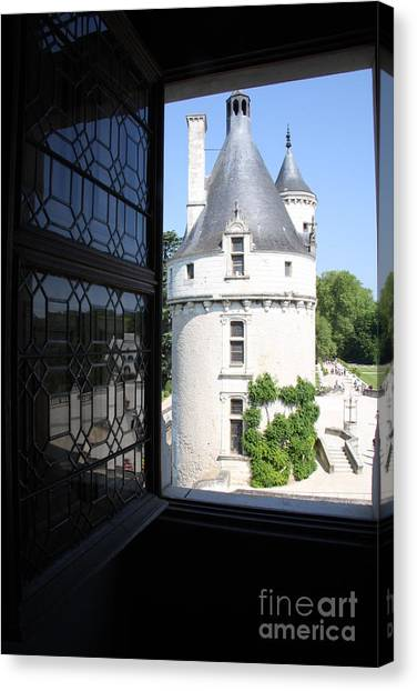 Chateau Chenonceau Tower Through Open Window  Canvas Print by Christiane Schulze Art And Photography