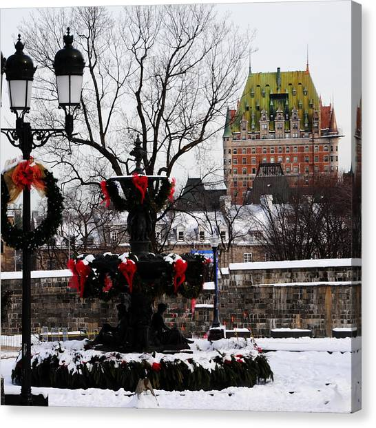 Chateau Frontenac - Holiday Canvas Print by Jacqueline M Lewis