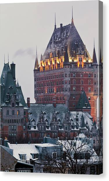 Chateau Frontenac In Winter Canvas Print by Doug Mckinlay