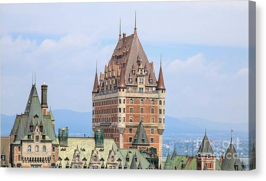 Quebec Canvas Print - Chateau Frontenac Quebec City Canada by Edward Fielding