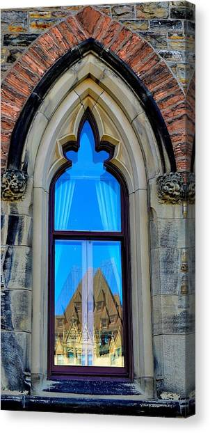 Chateau Laurier - Parlaiment Window - Reflection # 6 Canvas Print