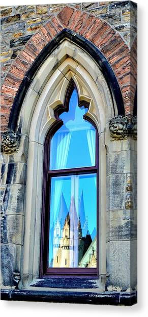 Chateau Laurier - Parlaiment Window - Reflection # 3 Canvas Print