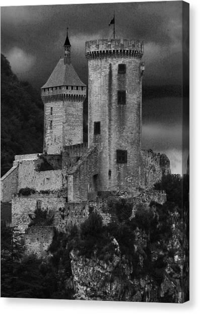 Chateau Tower Monochrome Canvas Print