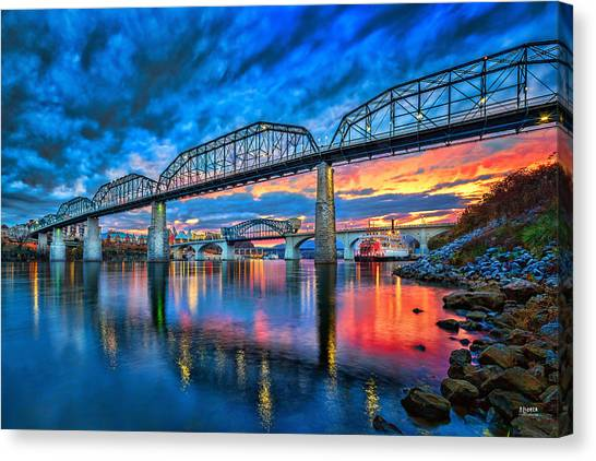 Tennessee Canvas Print - Chattanooga Sunset 3 by Steven Llorca