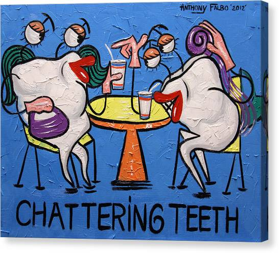 Canvas Print featuring the painting Chattering Teeth Dental Art By Anthony Falbo by Anthony Falbo
