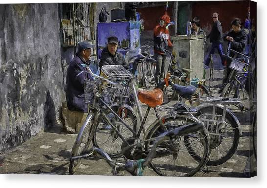 Chatting Amongst The Bikes Canvas Print by Barb Hauxwell