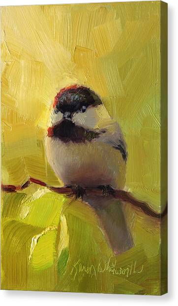 Chatty Chickadee - Cheeky Bird Canvas Print
