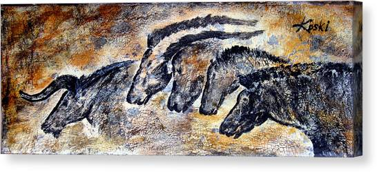Ancient Art Canvas Print - Chauvet Cave Auroch And Horses by Beverly  Koski
