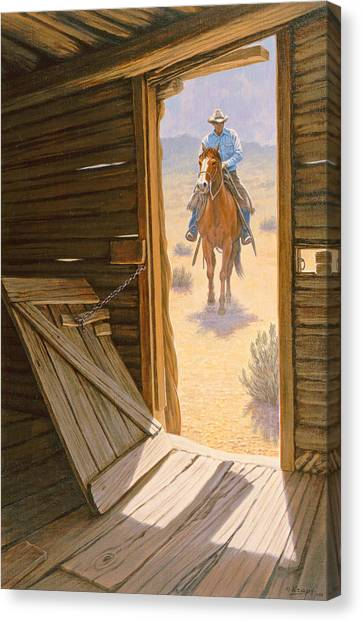 Cowboys Canvas Print - Checking The Line Cabin by Paul Krapf