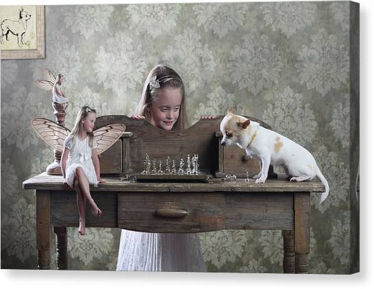 Fairy Canvas Print - Checkmate Or 3 Against 1 by Victoria Ivanova