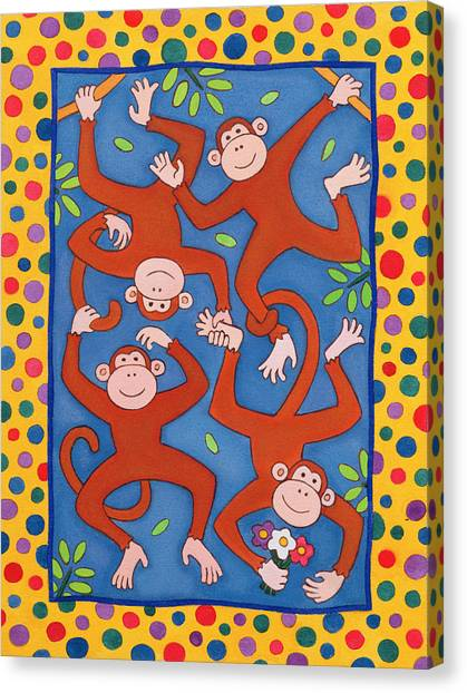 Chain Link Canvas Print - Cheeky Monkeys Wc by Cathy Baxter