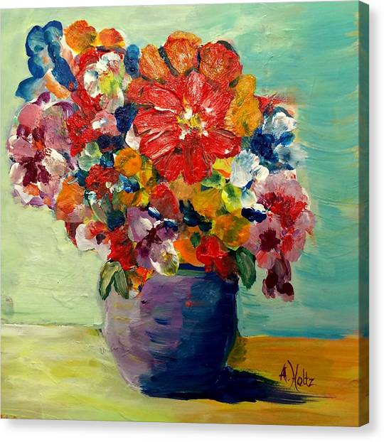 Cheerful Flowers In Pot Canvas Print