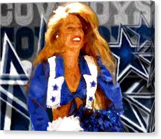 Dallas Cowboys Cheerleaders Canvas Print - Cheerleader Legend by Carrie OBrien Sibley