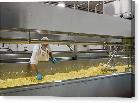Protective Clothing Canvas Print - Cheese Factory by Jim West