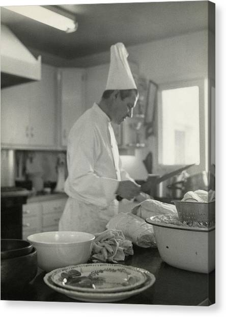 Chef Cooking At Elizabeth Arden's Maine Chance Canvas Print