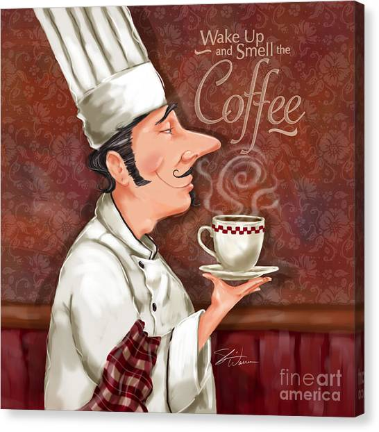 Chef Smell The Coffee Canvas Print
