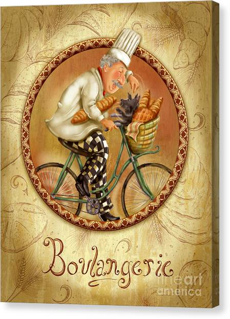 Chefs On Bikes-boulangerie Canvas Print