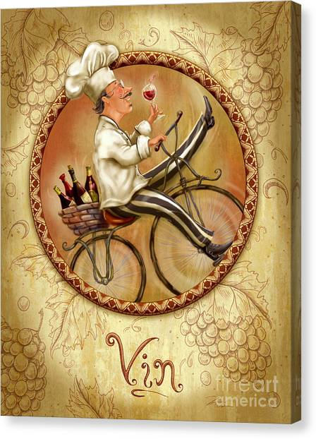Chefs On Bikes-vin Canvas Print