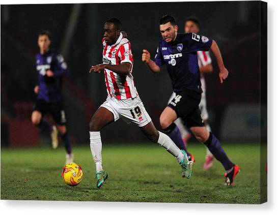 Cheltenham Town V Morecambe Fc - Sky Bet League Two Canvas Print by Dan Mullan