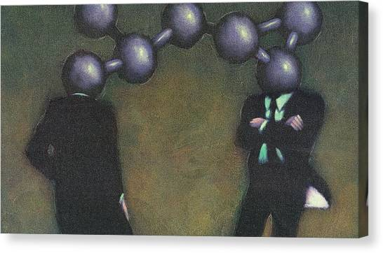 Chemically Bonded Businessmen Canvas Print by Tim Teebken