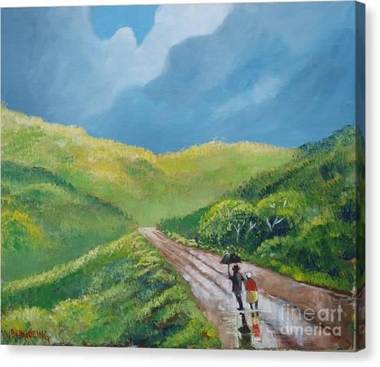 Chemin Sous Une Pluie Tropicale Canvas Print