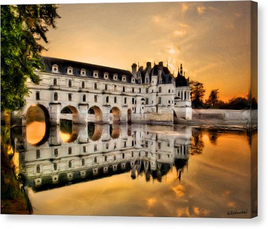 Chenonceau Castle Canvas Print - Chenonceau Castle In The Twilight Painting by Weston Westmoreland