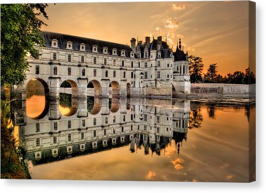 Chenonceau Castle Canvas Print - Chenonceau Castle In The Twilight Panorama by Weston Westmoreland