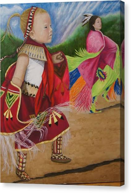 Cherokee Ribbon Dancers Canvas Print