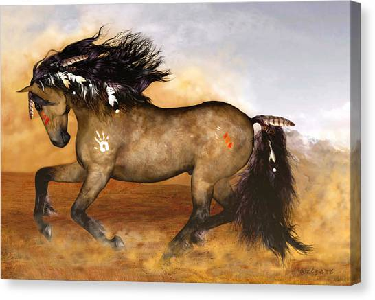 War Horse Canvas Print - Cherokee by Valerie Anne Kelly