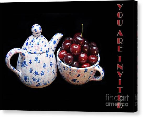 Tea Set Canvas Print - Cherries Invited To Tea Invitation by Andee Design