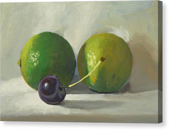 Cherry And Limes Canvas Print by Peter Orrock