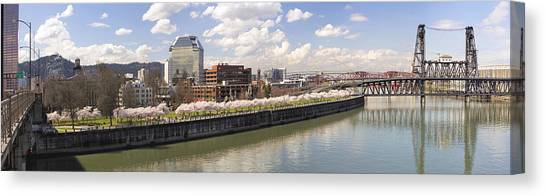 Cherry Blossom Along Portland Oregon Waterfront Panorama Canvas Print