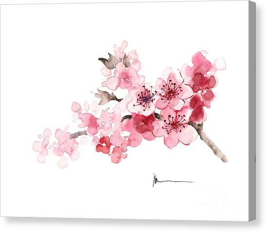 Japan Canvas Print - Cherry Blossom Branch Watercolor Art Print Painting by Joanna Szmerdt