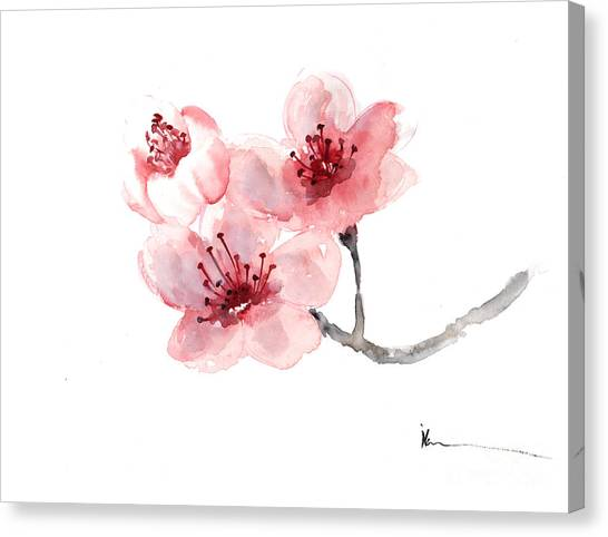 Cherry blossom flower watercolor art print painting painting by cherry blossom flower watercolor art print painting canvas print by joanna szmerdt mightylinksfo