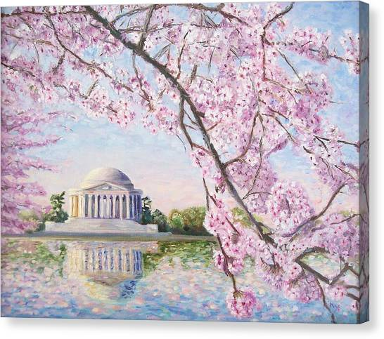 Basin Canvas Print - Jefferson Memorial Cherry Blossoms by Patty Kay Hall
