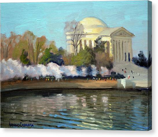 Jefferson Memorial Canvas Print - Cherry Blossoms Morning - Washington Dc by Armand Cabrera