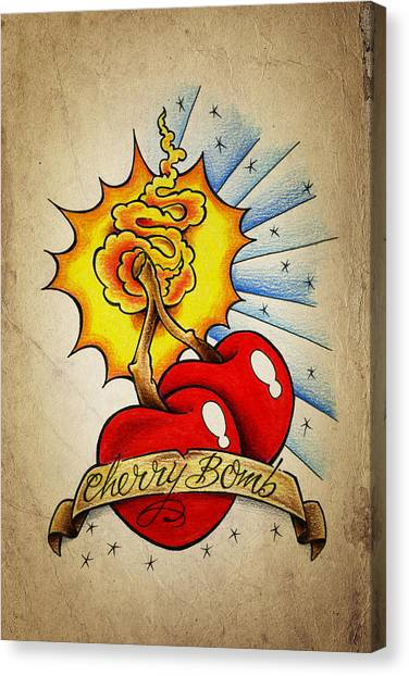 Bombs Canvas Print - Cherry Bomb by Samuel Whitton