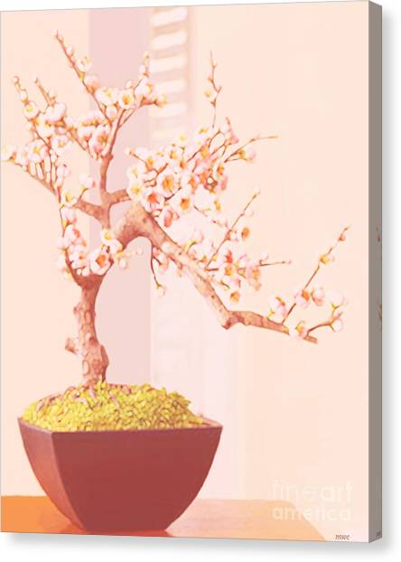 Canvas Print featuring the painting Cherry Bonsai Tree by Marian Cates