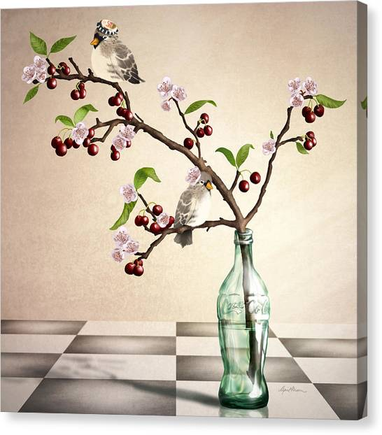 Finches Canvas Print - Cherry Coke by April Moen