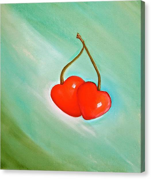 Cherry Hearts Canvas Print by Heather Matthews