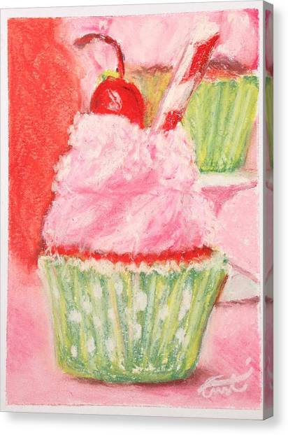 Cherry Limeade Cupcake Canvas Print