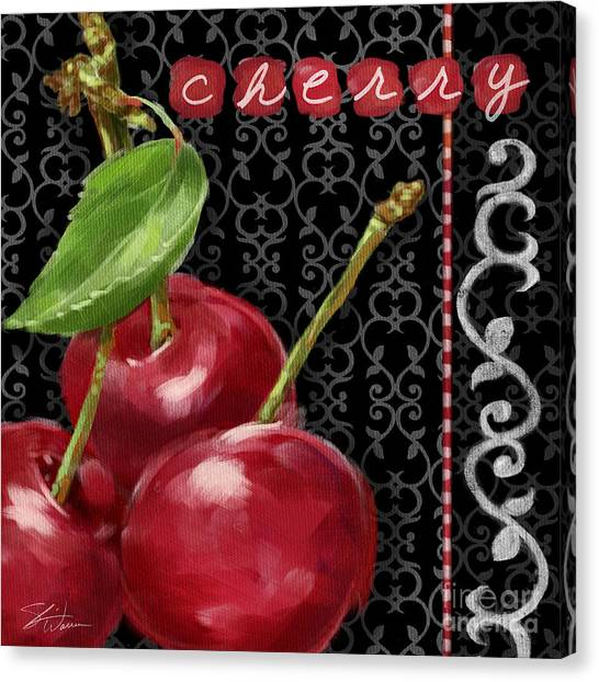 Cherry On Black And White Canvas Print