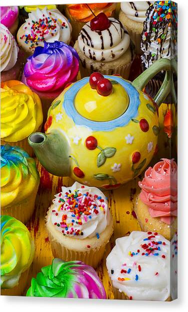 Sweet Tea Canvas Print - Cherry Teapot And Cupcakes by Garry Gay