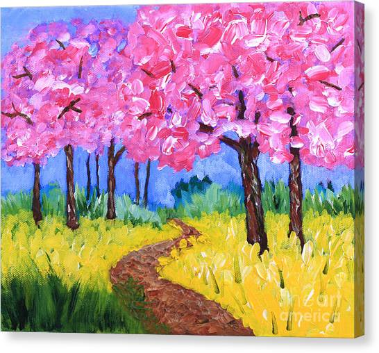 Cherry Trees And Field Mustard After The Rain Acrylic Painting Canvas Print